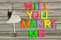 wedding bride and groom couple doll with will you marry me colorful plastic letterpress